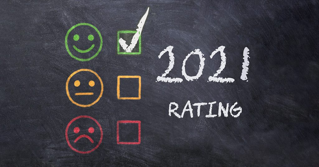 """Chalkboard with a """"happy"""" 2021 customer rating"""